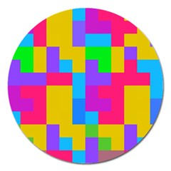 Colorful Tetris Shapes 			magnet 5  (round) by LalyLauraFLM