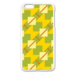 Squares And Stripes 			apple Iphone 6 Plus/6s Plus Enamel White Case by LalyLauraFLM
