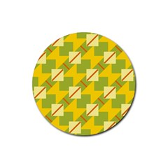 Squares And Stripes 			rubber Round Coaster (4 Pack) by LalyLauraFLM