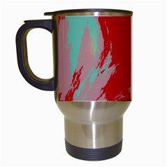 Red Pink Green Texture Travel Mug (white) by LalyLauraFLM