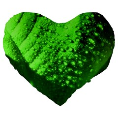 Green And Powerful Large 19  Premium Flano Heart Shape Cushions by timelessartoncanvas