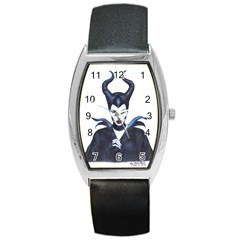 Maleficent Drawing Barrel Metal Watches by KentChua