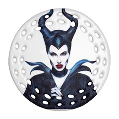 Maleficent Drawing Ornament (round Filigree)  by KentChua