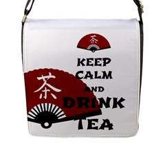 Keep Calm And Drink Tea   Asia Edition Flap Messenger Bag (l)