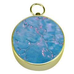 Abstract Waters With Hints Of Pink Gold Compasses by timelessartoncanvas