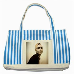 Halloween Skull And Tux  Striped Blue Tote Bag  by KentChua