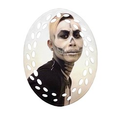 Halloween Skull And Tux  Oval Filigree Ornament (2 Side)  by KentChua