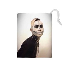 Halloween Skull And Tux  Drawstring Pouches (medium)