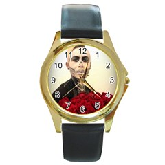 Halloween Skull Tux And Roses  Round Gold Metal Watches by KentChua