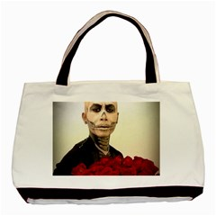 Halloween Skull Tux And Roses  Basic Tote Bag  by KentChua