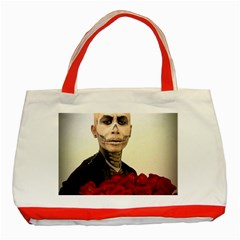 Halloween Skull Tux And Roses  Classic Tote Bag (red)  by KentChua