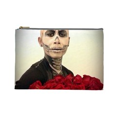 Halloween Skull Tux And Roses  Cosmetic Bag (large)  by KentChua