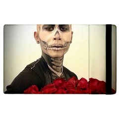 Halloween Skull Tux And Roses  Apple Ipad 2 Flip Case by KentChua