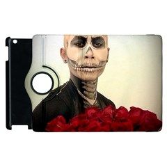 Halloween Skull Tux And Roses  Apple Ipad 2 Flip 360 Case by KentChua
