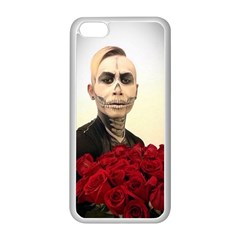 Halloween Skull Tux And Roses  Apple Iphone 5c Seamless Case (white) by KentChua