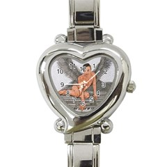 Angel And The Piano Drawing Heart Italian Charm Watch by KentChua