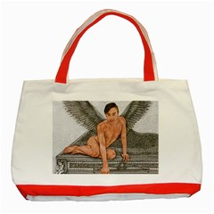 Angel And The Piano Drawing Classic Tote Bag (red)  by KentChua