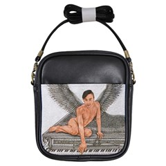 Angel And The Piano Drawing Girls Sling Bags by KentChua