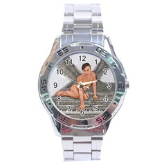 Angel And The Piano Drawing Stainless Steel Men s Watch by KentChua