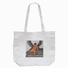 Angel And The Piano Drawing Tote Bag (white)  by KentChua