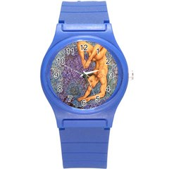 Zodiac Signs Scorpio Drawing Round Plastic Sport Watch (s) by KentChua
