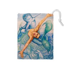 Zodiac Signs Pisces Drawing Drawstring Pouches (medium)  by KentChua
