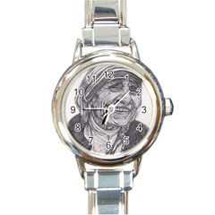 Mother Theresa  Pencil Drawing Round Italian Charm Watches by KentChua