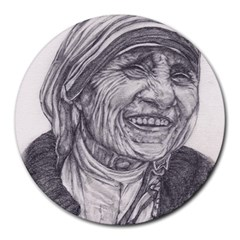 Mother Theresa  Pencil Drawing Round Mousepads