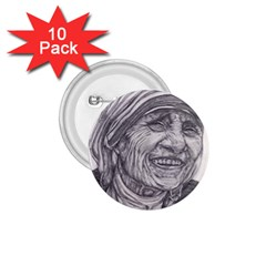 Mother Theresa  Pencil Drawing 1 75  Buttons (10 Pack)