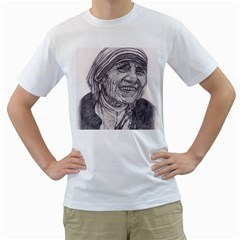 Mother Theresa  Pencil Drawing Men s T Shirt (white) (two Sided)