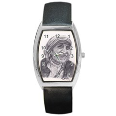 Mother Theresa  Pencil Drawing Barrel Metal Watches by KentChua