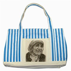 Mother Theresa  Pencil Drawing Striped Blue Tote Bag  by KentChua