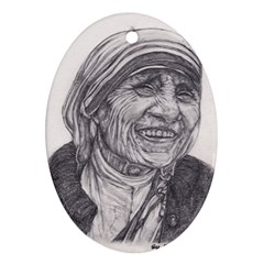 Mother Theresa  Pencil Drawing Oval Ornament (two Sides) by KentChua
