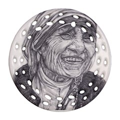 Mother Theresa  Pencil Drawing Round Filigree Ornament (2side) by KentChua