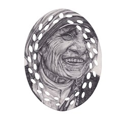 Mother Theresa  Pencil Drawing Oval Filigree Ornament (2 Side)  by KentChua