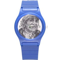 Mother Theresa  Pencil Drawing Round Plastic Sport Watch (s) by KentChua