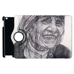 Mother Theresa  Pencil Drawing Apple Ipad 2 Flip 360 Case by KentChua