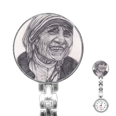 Mother Theresa  Pencil Drawing Stainless Steel Nurses Watches by KentChua