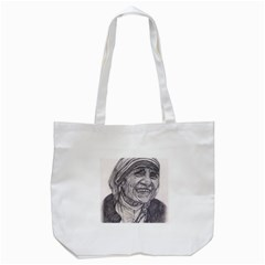 Mother Theresa  Pencil Drawing Tote Bag (white)  by KentChua