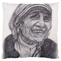 Mother Theresa  Pencil Drawing Standard Flano Cushion Cases (one Side)  by KentChua