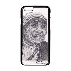 Mother Theresa  Pencil Drawing Apple Iphone 6/6s Black Enamel Case by KentChua