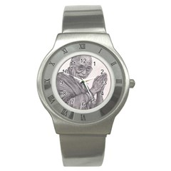 Dalai Lama Tenzin Gaytso Pencil Drawing Stainless Steel Watches by KentChua