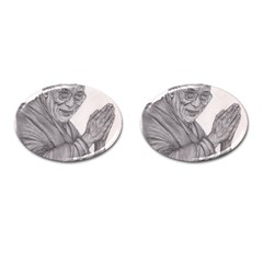 Dalai Lama Tenzin Gaytso Pencil Drawing Cufflinks (oval) by KentChua