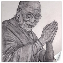 Dalai Lama Tenzin Gaytso Pencil Drawing Canvas 12  X 12   by KentChua