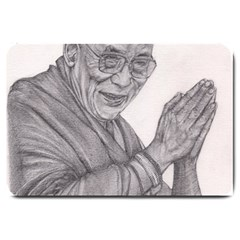 Dalai Lama Tenzin Gaytso Pencil Drawing Large Doormat  by KentChua