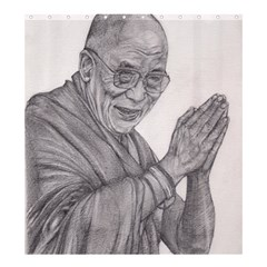 Dalai Lama Tenzin Gaytso Pencil Drawing Shower Curtain 66  X 72  (large)  by KentChua