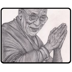 Dalai Lama Tenzin Gaytso Pencil Drawing Fleece Blanket (medium)  by KentChua