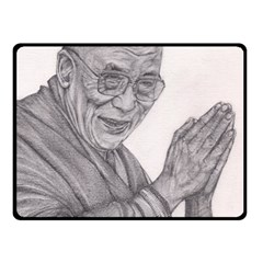 Dalai Lama Tenzin Gaytso Pencil Drawing Fleece Blanket (small) by KentChua