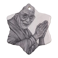 Dalai Lama Tenzin Gaytso Pencil Drawing Ornament (snowflake)  by KentChua