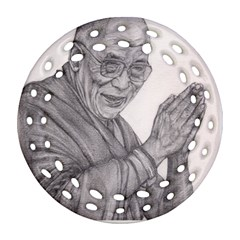 Dalai Lama Tenzin Gaytso Pencil Drawing Round Filigree Ornament (2side) by KentChua